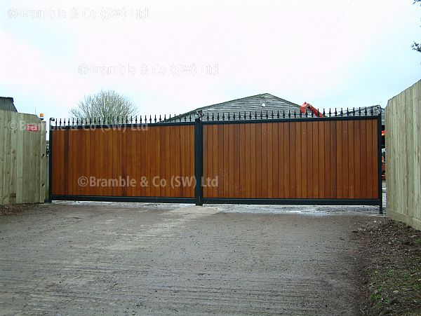 Large Wooden Electric Gates,Devon