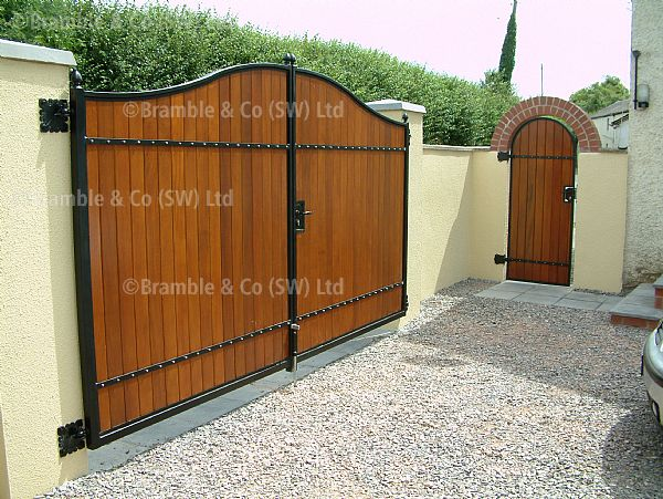 wooden pair of gates with pedestrian gate,Devon