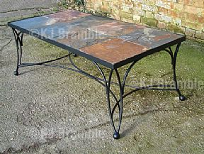Iron Table with Slate Top.Somerset