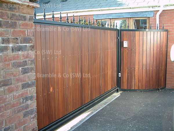 Sliding Wooden Cantilever Gate,with railing.Somerset